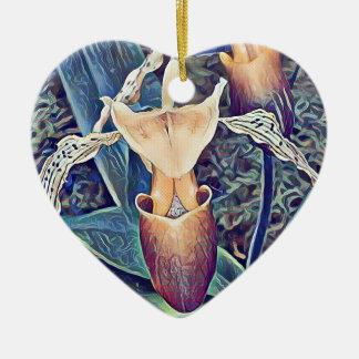 Orquídea de deslizador artística magenta azul adorno de cerámica