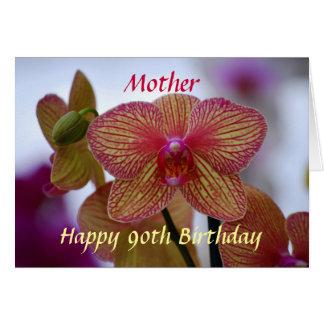 Orquídea rayada del 90.o cumpleaños feliz de la tarjeta de felicitación