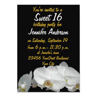 Orquídeas blancas pequeñas del dulce 16 invitación 12,7 x 17,8 cm