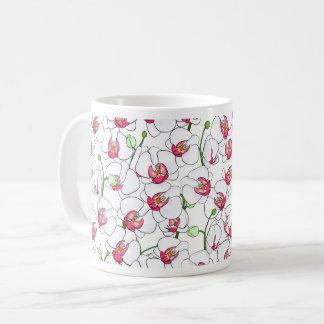 Orquídeas blancas taza de café