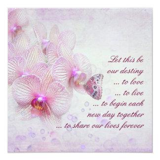 Orquídeas e invitación rosadas del boda de la