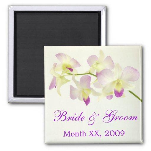 Orquídeas en blanco, novia y novio imán cuadrado