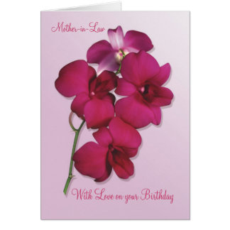 Orquídeas. Tarjeta de cumpleaños de la suegra