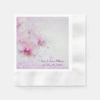Orquídeas y burbujas rosadas del aniversario servilletas de papel