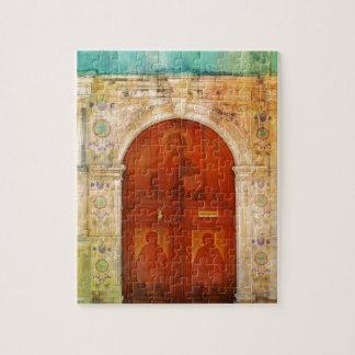 Ortodoxo griego de la puerta del icono del puzzle