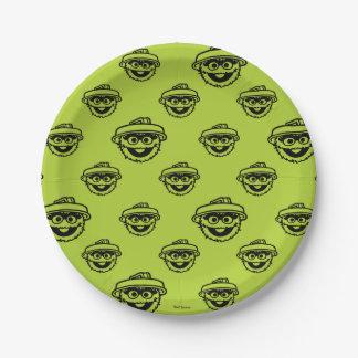 Óscar el modelo del verde del Grouch Plato De Papel