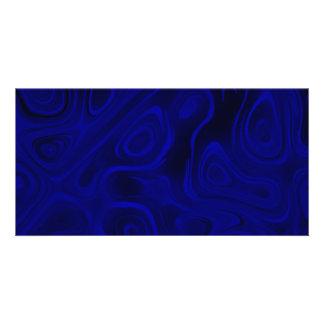 Oscilaciones de humor - azul contra extracto negro tarjeta fotografica personalizada