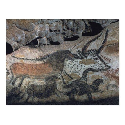 Oscile la pintura de un toro y de los caballos, c. postal