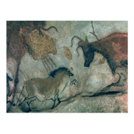 Oscile la pintura que muestra un caballo y una vac postales