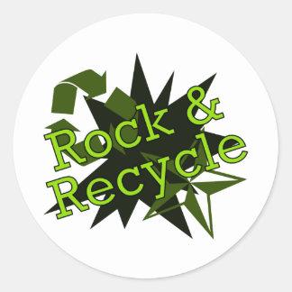 Oscile y recicle pegatina redonda