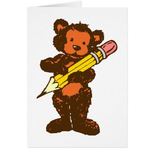 Osito de peluche teddy bear lápiz pencil tarjetas