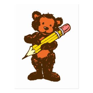 Osito de peluche teddy bear lápiz pencil postal