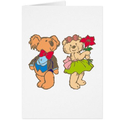 Osito de peluche teddy bear pareja couple tarjeta