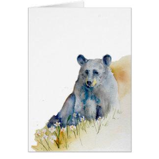 Oso azul pensativo tarjeta pequeña