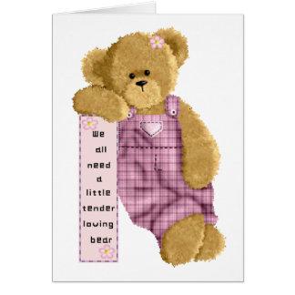 Oso cariñoso blando tarjeta de felicitación