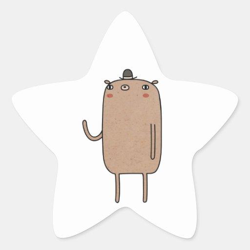 Oso con el gorra calcomanía forma de estrella personalizadas
