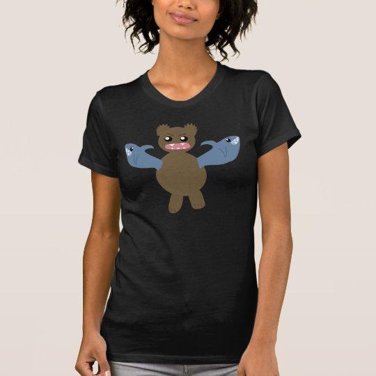 Oso con los tiburones para los brazos camiseta