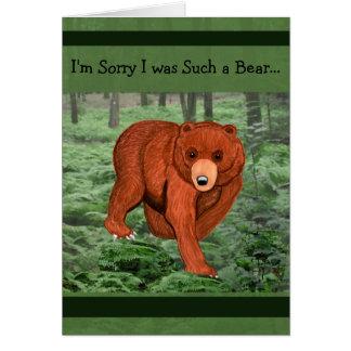 Oso de Brown en tarjeta de la disculpa del bosque
