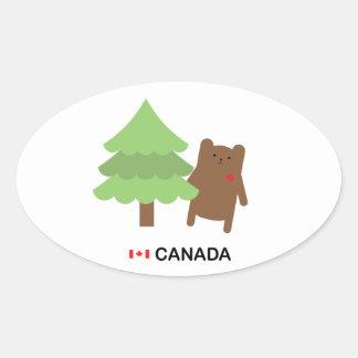 Oso de Canadá Pegatina Oval Personalizadas