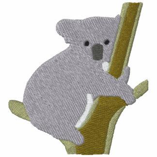 Oso de koala en un modelo del bordado del ~ del ár camiseta polo bordada