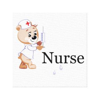 Oso de la enfermera impresiones en lona estiradas