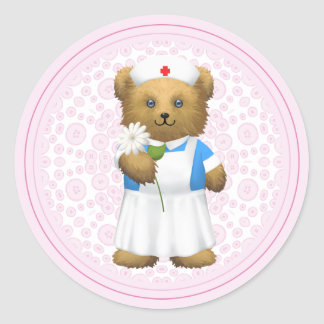 Oso de la enfermera - oso de peluche pegatina redonda