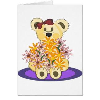 Oso de la flor tarjeta de felicitación
