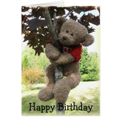 Oso de la hoja de arce, feliz cumpleaños tarjeta de felicitación