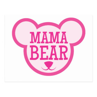 oso de la mamá en cabeza del peluche postal