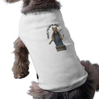 Oso de la pesca del día de padres camisas de mascota