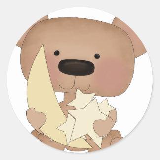 oso de las estrellas pegatina redonda