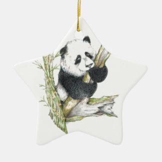 Oso de panda adorno de cerámica en forma de estrella