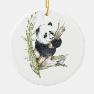 Oso de panda adorno redondo de cerámica
