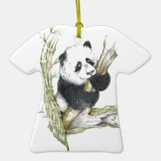 Oso de panda adorno de cerámica en forma de camiseta