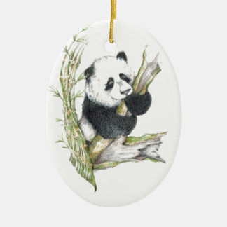 Oso de panda adorno ovalado de cerámica