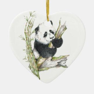 Oso de panda adorno de cerámica en forma de corazón