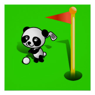 Oso de panda del bebé del dibujo animado Golfing e Impresiones
