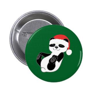 Oso de panda del navidad con el gorra rojo de chapa redonda 5 cm