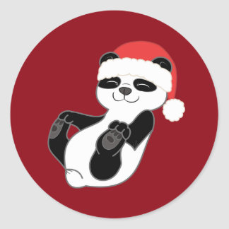 Oso de panda del navidad con el gorra rojo de pegatina redonda