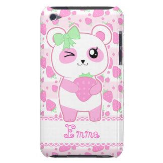 Oso de panda lindo de Kawaii del rosa de la fresa Funda Para iPod De Barely There