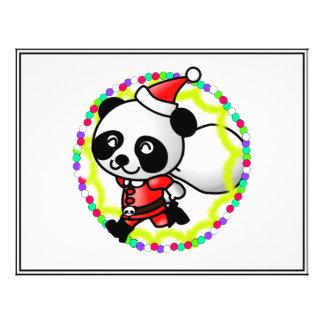 Oso de panda lindo del dibujo animado Santa Tarjeton