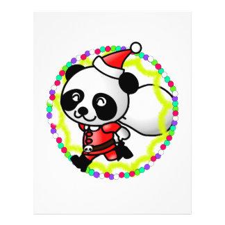Oso de panda lindo del dibujo animado Santa Tarjetas Informativas
