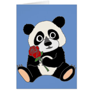 Oso de panda lindo que sostiene el rosa rojo tarjeta de felicitación