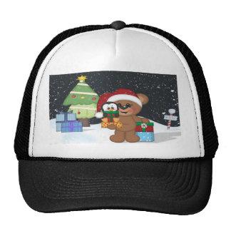Oso de peluche, árbol de navidad, escena linda de  gorras de camionero
