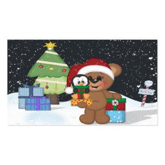 Oso de peluche, árbol de navidad, escena linda de tarjetas de visita