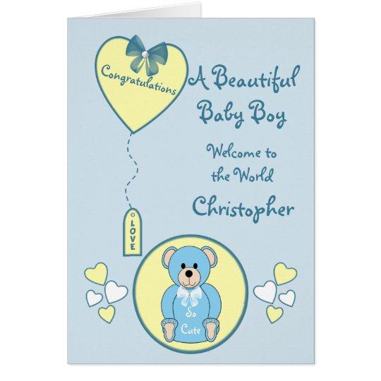 Oso de peluche azul de la nueva tarjeta del bebé