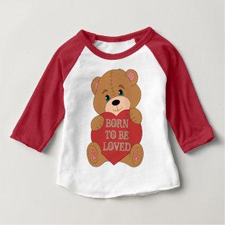 Oso de peluche de encargo lindo con monograma camiseta de bebé