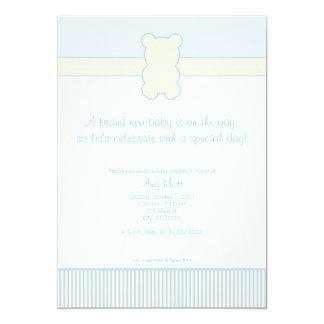 Oso de peluche de la foto - puntos y rayas - azul invitación 12,7 x 17,8 cm