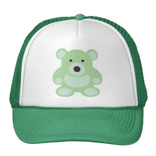 Oso de peluche de la verde menta gorras de camionero