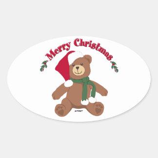 Oso de peluche de las Felices Navidad Calcomania Ovalada